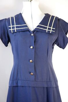 Vintage 40's / 50's  Dress Sailor Collar Blue Red by VintageCommon, $46.99