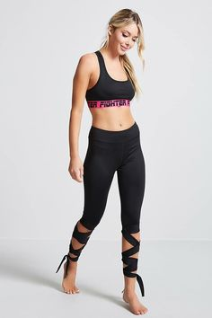 FOREVER 21 Active Self-Tie Capri Leggings Active Wear For Women aff141ac9ec