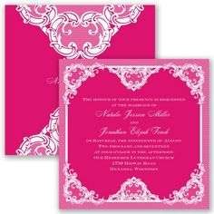 Make your wedding one of a kind with this romantic two-sided lace invitation. Shown here in Watermelon. #davidsbridal #weddinginvitations #lace #pinkweddings