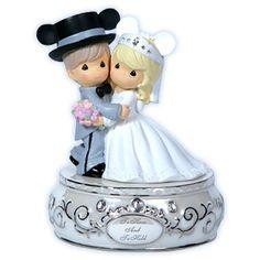Disney Wedding Couple - Musical Precious Moments Cake Topper