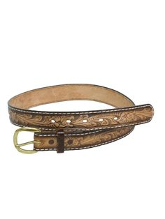 1970's Retro Belt: 70s -Tony Lama- Mens tan and brown western leather belt with blue relief design along abstract floral body, blank rear for stamped name - if desired and brass snap off d-ring buckle.