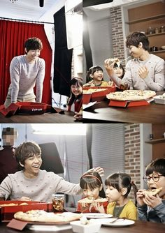 Lee Seung Gi is all smiles for child actors on CF set