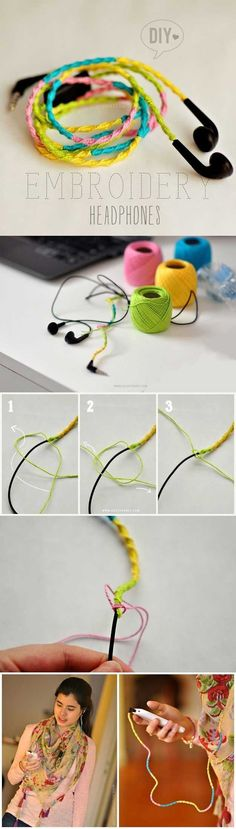Cool DIY Ideas for Your iPhone iPad Tablets & Phones | Fun Projects for Chargers, Cases and Headphones | DIY: Embrodery Headphones | http://diyprojectsforteens.com/diy-projects-iphone-ipad-phone/