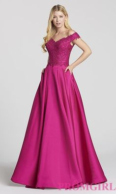 Off-the-Shoulder Ellie Wilde Prom Dress