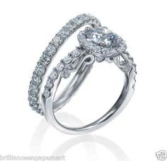 2.20 TCW GIA ROUND HALO DIAMOND ENGAGEMENT RING & ETERNITY BAND BRIDAL SET 18K