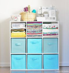 Use modular storage to store materials - If you're in need of craft storage ideas for your craft room then this list is exactly what you need to read! #fabricstorage #fabric #material #craftroom