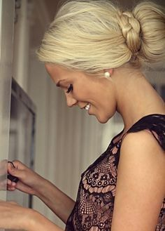 Braided updo that's stunning for an everyday look. (bridesmaid hair updo ponytail)