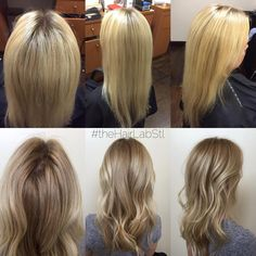 Softened her base but kept her ends bright for a low maintenance blonde look!