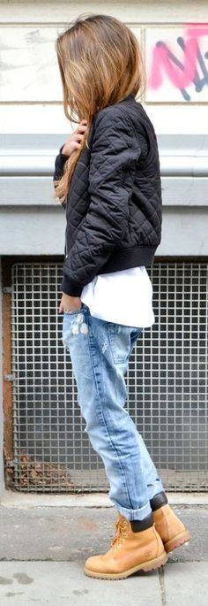 dope, swag, streetwear, fashion, black bomber jacket, pretty, trill, quilted, jeans, timberland, bomber jacket, black, urban, dope wishlist, jacket, white top