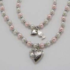 Unique First Communion Gift for Girls - Heart Locket Necklace and Bracelet Set Communion Gifts Girl, Heart Locket Necklace, Religious Gifts, Gifts For Girls, Bracelet Set, Pearl White, Pretty In Pink, Catholic, Girly