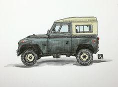 KillerBeeMoto: Manual Original dibujado Land Rover pluma y tinta con efecto de Color de agua Estos bocetos dibujados a mano son hechos con pluma y tinta y luego siguió con un efecto de color del agua.  Esta es la pieza original.  La Land Rover fue concebido por la compañía de Rover en 1947 durante la II Guerra Mundial. Antes de la guerra Rover produjo coches de lujo que no estaban en demanda en el período inmediato de posguerra y materias primas fueron racionadas terminantemente a las…