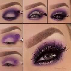 Purple Eyeshadow Makeup Tutorial Step By Step Smoke Eye Makeup, Makeup Eye Looks, Purple Eye Makeup, Eye Makeup Steps, Colorful Eye Makeup, Cute Makeup, Gorgeous Makeup, Eyeshadow Makeup, Makeup Brushes