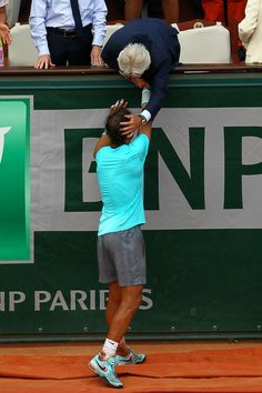 Bjorn Borg - 2014 French Open - Day Fifteen congratulating Rafa on his record breaking win against Djokovich.