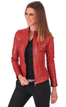#Veste #cuir #femme Silene Rouge par La Canadienne