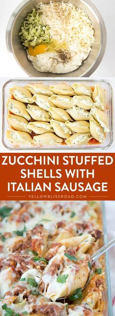 zucchini recipes Zucchini Stuffed Shells with Sausage - Tender pasta shells filled with Ricotta and mozzarella cheese and shredded zucchini. Smothered in a rich sausage marinara. Such an elegant weeknight dinner! Pasta Recipes, Dinner Recipes, Cooking Recipes, Healthy Recipes, Tapas Recipes, Pasta Meals, Crab Recipes, Pasta Food, Healthy Food