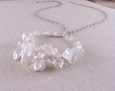 MOONBEAMS sterling silver gemstone necklace moonstone white topaz $68