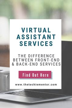 As you start a Virtual Assistant business you need to think of some services ideas you want to provide for your clients. Being a Virtual Assistant doesn't just mean you offer admin services. Join me as I share the difference between front-end virtual assistant services vs back-end services. For more Virtual Assistant Tips and Training follow me @thetechiementor! Admin Work, Virtual Assistant Services, Operations Management, Looking For People, Work From Home Jobs, Business Ideas, Online Business, Flexibility, Remote
