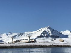 The scientific base of Ny-Ålesund, Svalbard, as seen from the sea.