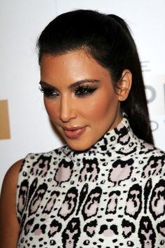 Kim Kardashians sleek ponytail