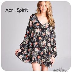APRIL SPIRIT floral dress please ask me to create a listing for you with the size requested. these will be available to ship out in a few days.  NEW in perfect condition beautiful floral dress with a v-drop back. fits slightly oversized as shown is stock photos.  sizes available- 1 small, 2 medium, 1 large material- 100% polyester made in the USA  please don't hesitate to ask questions. happy POSHing    i do not take any transactions off poshmark, so please do not ask. April Spirit Dresses