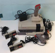 Nintendo Nes Original Console System with Controllers, Gun and Joy Stick #Nintendo