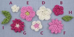posy blossoms crochet pattern by planetjune A: Small Blossom; B & C: Medium Blossoms; D & E: Large Blossoms; F & G: Spiked Blossoms; H: Single Leaf; I Double Leaf  7 Different Designs, free pattern or a PDF per donation