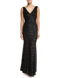 Candence Sequined Gown, Black by Rachel Gilbert at Neiman Marcus.