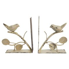Set of two metal bookends with a weathered white finish and bird accents. Product: Set of 2 bookendsConstruction Material: MetalColor: WhiteDimensions: 5 H x 6 W eachCleaning and Care: Wipe with soft damp cloth Bird Book, Crazy Bird, Owl Bird, Decorative Objects, Decorative Accents, Love Birds, Joss And Main, Home Decor Items, Bird Feathers