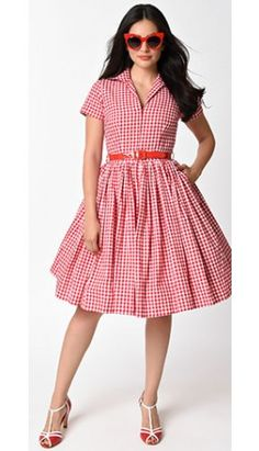 Bernie Dexter 1950s Style White & Red Gingham Swing Dress