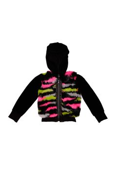 Velour hoodie is colorful and stylish - Velour hoodie has a colorful faux fur front - Satin ruffle trim accents the front zipper,Fabric Content: 75% Cotton/20% Polyester/5% Spandex - Care Instructions: Machine Wash