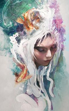Amazing Digital art and illustration artwork created by professional artists from around the world that will surely mesmerize you and stir your imagination. Art Et Illustration, Illustrations, Art Amour, L'art Du Portrait, Portraits, Female Portrait, Art Beat, Art Design, Love Art