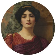 """Contemplation"" -- by John William GODWARD; LARGE SIZE PAINTING"