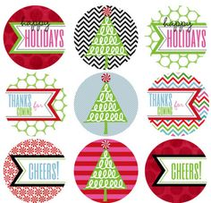free printables. These can be used for cupcakes, water bottle labels, tags. lots of other cute ideas that could be adapted to other holidays.