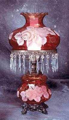 Victorian Lamp w/cranberry glass, c 1875 Antique Hurricane Lamps, Hurricane Oil Lamps, Antique Oil Lamps, Old Lamps, Vintage Lamps, Victorian Lighting, Victorian Lamps, Antique Lighting, Victorian Furniture
