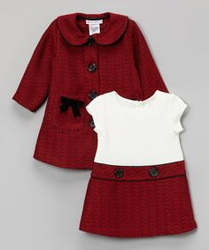 Loving this Red Bow Peacoat & Dress - Infant, Toddler & Girls on #zulily! #zulilyfinds