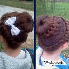 Lace braid crown into french braided sock bun and bow