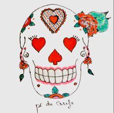 Mexican Skull by Pé de Cereja  Valentine's Day https://www.facebook.com/pedecereja2014