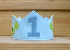 Felt Dinosaur Crown Boy Birthday First by pixieandpenelope on Etsy