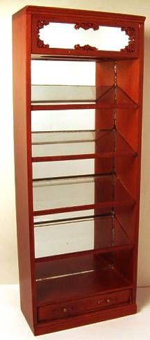 """Emporium"" display case $68 Miniature  ""New"" walnut finish   Angled shelves  By Bespaq  3"" wide, 1 1/2"" deep, 8"" tall"