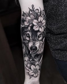 black work wolf and flowers tattoo idea