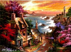 Original ACEO Heading Home Cottage Country Sea Lighthouse Sunset by M. Mishkova