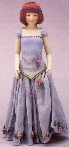 "Lady in Blue, 18"", felt doll, by Maggie Iacono."