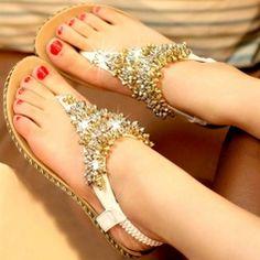 Gorgeous Beaded Flip-Flops Casual Women's Flat Sandals Comfortable Shoes