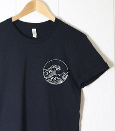 The Great Wave Shirt in Black Summer Shirt by CupOfTeeStore Custom Clothes, Diy Clothes, Custom Shirts, Custom T Shirt Printing, Printed Shirts, Diy Vetement, Shirt Print Design, Sports T Shirt Design, Cute Tshirts
