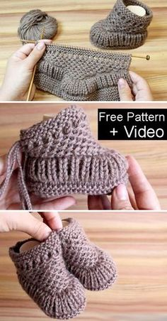 Freie strickmuster knitting patterns knit warm baby booties free knitting pattern + video knitting pattern baby booties free freiestrickmuster knit knitting pattern patterns video warm how to knit fruit citrus slices with free pattern + video Baby Booties Knitting Pattern, Crochet Baby Booties, Knit Baby Shoes, Knitted Booties, Knit For Baby, Knitted Baby Hats, Baby Boots Pattern, Knit Slippers Free Pattern, Baby Bootees