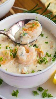 Creamy Seafood Chowder – Gather for Bread – Sea Food Speciel Creamy Seafood Bisque Recipe, Seafood Soup Recipes, Chowder Recipes, Prawn Recipes, Fish Chowder, Chowder Soup, Sea Food Chowder, Fish Soup, Soups
