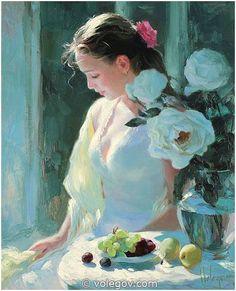 Gallery of artist Vladimir Volegov, portraits of very beautiful women. Sun Painting, Woman Painting, Figure Painting, Vladimir Volegov, Ecole Art, Beautiful Paintings, Art Oil, Oil On Canvas, Art Drawings