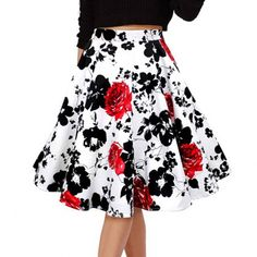 Cheap waist midi skirt, Buy Quality midi skirt directly from China high waist midi skirt Suppliers: 50s Vintage Woman Retro Red Rose Flower Bouquet Floral Print High Waist Midi Skirts Mid-Calf Long Saia Feminina Ladies Skirt