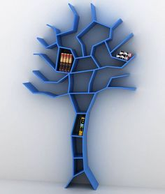 Unique Bookcase Shaped Like Tree – Tree Bookcase - The Great Inspiration for Your Building Design - Home, Building, Furniture and Interior Design Ideas Tree Bookshelf, Bookshelf Design, Tree Shelf, Book Shelves, Bookshelf Ideas, Bookshelf Storage, Dvd Storage, Kids Bookcase, Wall Shelves
