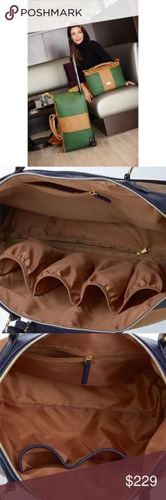 """💞Nip/JM Colorblock Lthr Carry-On Weekender Set! 💞Nip/JOY Colorblock Genuine Leather Carry-On Wheeled Duffle+Bag Set/Joy Mangano/ACTUAL Color Rich Saddle(will post pics) Colorblock combo sold out/BUT U CAN get IT! Wheeled duffle & Tote/10-yr lmt warranty/14-1/4""""L x 5-1/2""""W x 11-1/8""""H/4""""L handle drop w 15""""L strap drop Wgt capacity:10lbs./100% real leather; polyester lining/U stand apart Shouldn't ur luggage! Perfect traveling companion. Roomy interiors w plentiful of pockets/Great 4 that…"""